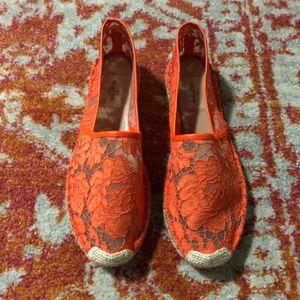 🏖 Valentino Garavani Orange Lace Espadrilles